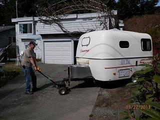 Trailer dolly fiberglass rv for Motorized trailer dolly rental