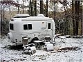 Oliver in the snow - FiberglassRV.com cover photo, Dec. 15, 2008