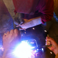 Welding in progress.